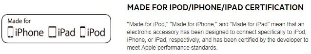 Маркировка Made For iPhone для сертифицированных проводов Apple