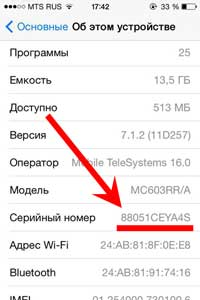 """Пример """"старого"""" IMEI iPhone"""
