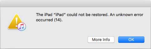 Ошибка 14 в iTunes