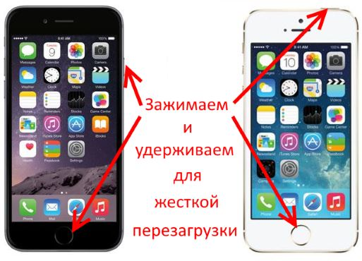Принудительная перезагрузка iPhone 6S и 5S
