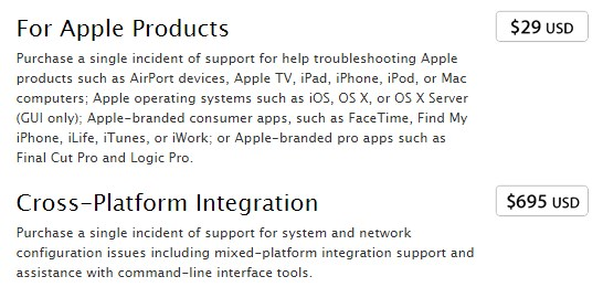 Цены на платное обращение в поддержку Apple