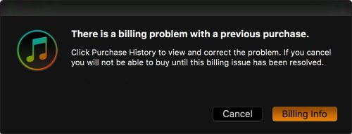 There is a billing problem with a previous purchase в iTunes