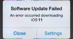 Ошибка загрузки обновления iOS 11