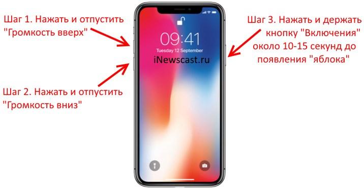 Как перезагрузить зависший iPhone X
