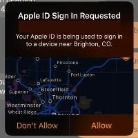 """Окно """"Попытка входа с Apple ID"""""""