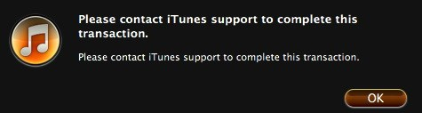 "Ошибка iTunes ""Please contact iTunes support to complete this transaction"""