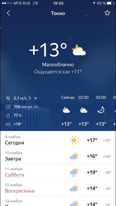 Яндекс погода для iPhone