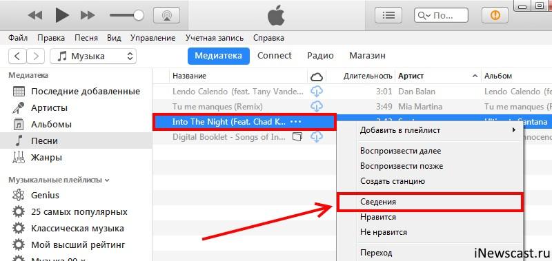 Просматриваем сведения о песне в iTunes