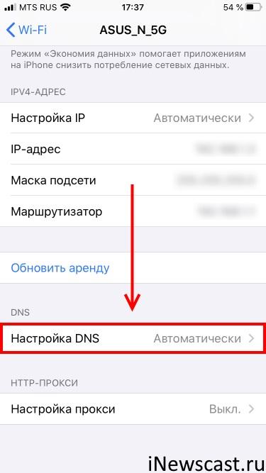 Настройка DNS на iPhone