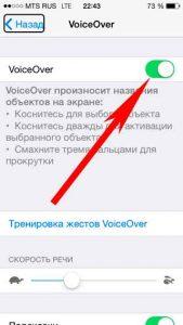 Выключаем VoiceOver