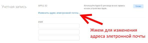Изменение адреса электронной почты